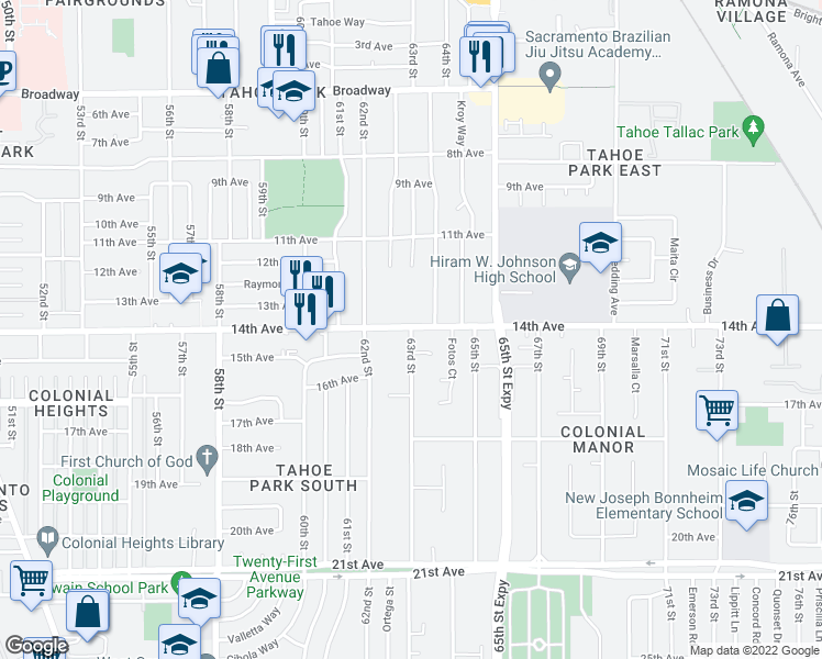 map of restaurants, bars, coffee shops, grocery stores, and more near 6300 14th Avenue in Sacramento
