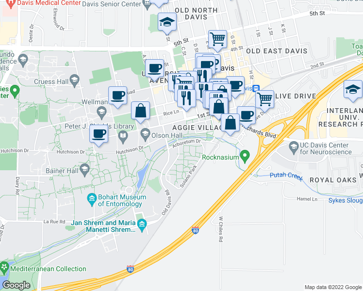 map of restaurants, bars, coffee shops, grocery stores, and more near 4400 Solano Park in Davis