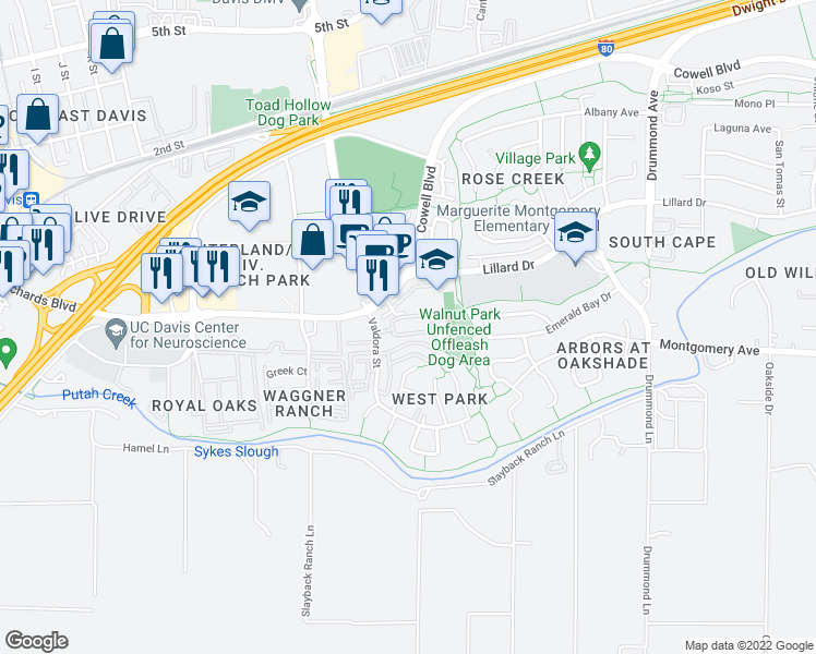 map of restaurants, bars, coffee shops, grocery stores, and more near 264 Barony Place in Davis