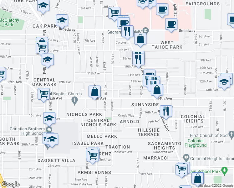 map of restaurants, bars, coffee shops, grocery stores, and more near 3826 45th Street in Sacramento