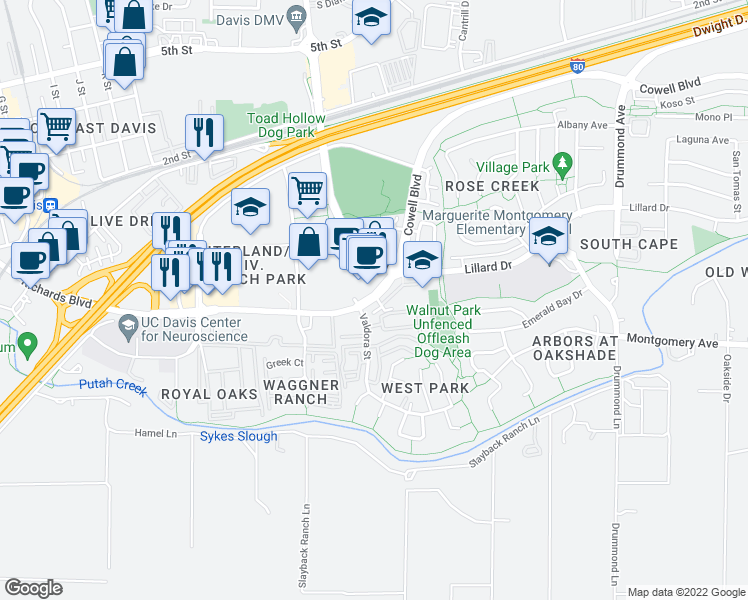 map of restaurants, bars, coffee shops, grocery stores, and more near 2120 Cowell Boulevard in Davis