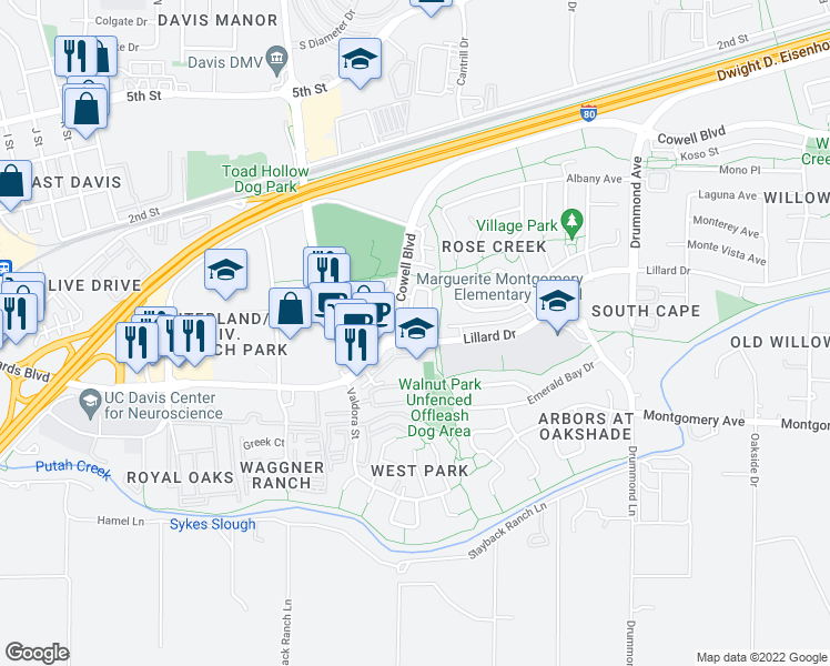 map of restaurants, bars, coffee shops, grocery stores, and more near 1267 Farragut Circle in Davis