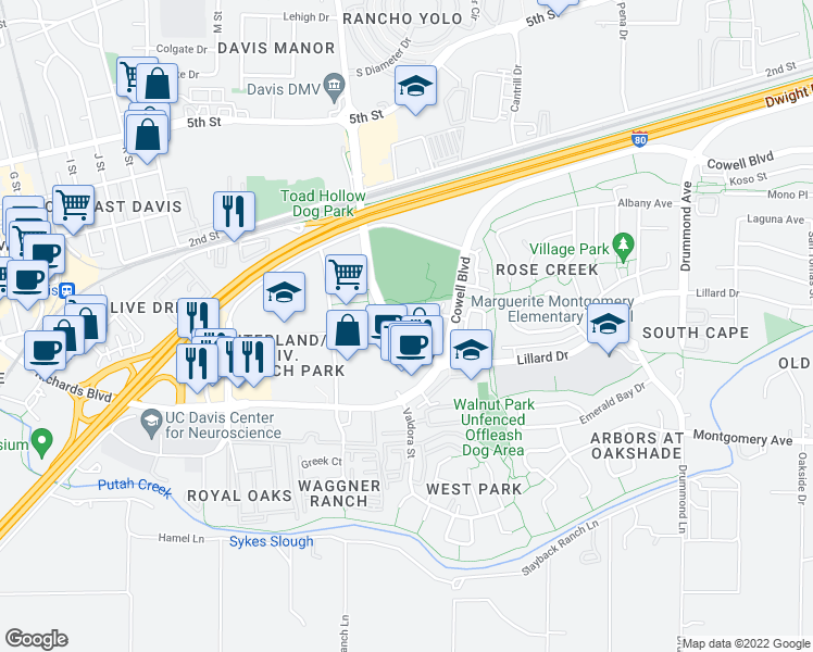 map of restaurants, bars, coffee shops, grocery stores, and more near 2484 Halsey Circle in Davis