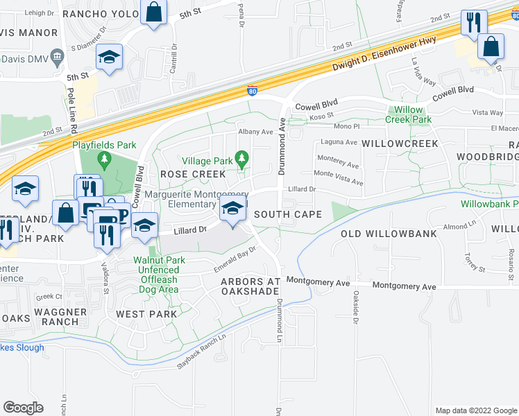 map of restaurants, bars, coffee shops, grocery stores, and more near 3000 Lillard Drive in Davis