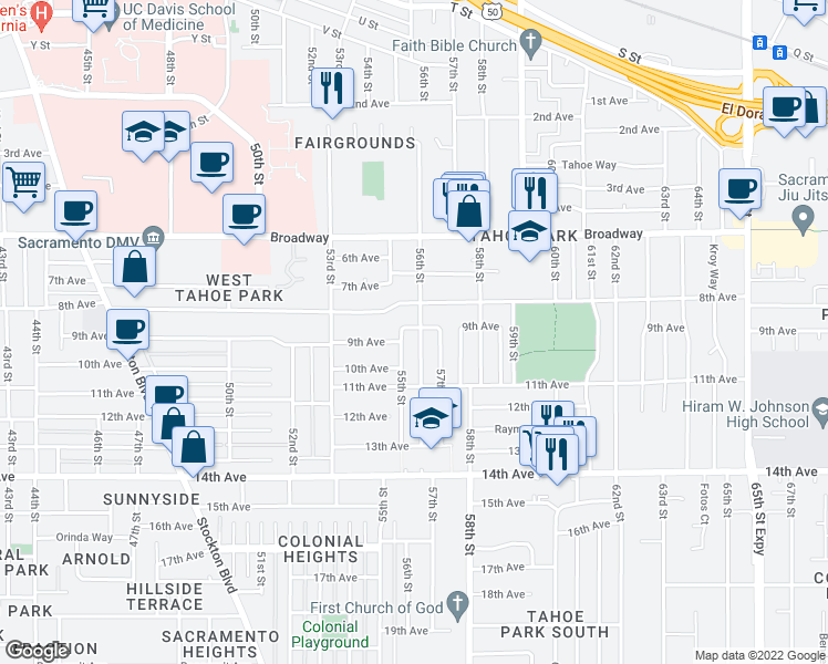 map of restaurants, bars, coffee shops, grocery stores, and more near 3324 56th Street in Sacramento