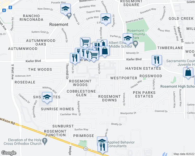 map of restaurants, bars, coffee shops, grocery stores, and more near 3650 Tallyho Drive in Sacramento
