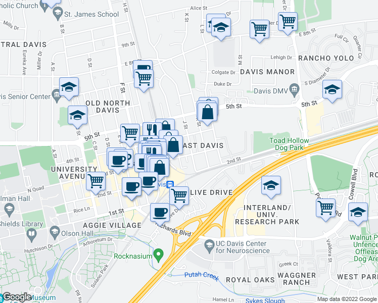 map of restaurants, bars, coffee shops, grocery stores, and more near 1021 3rd Street in Davis