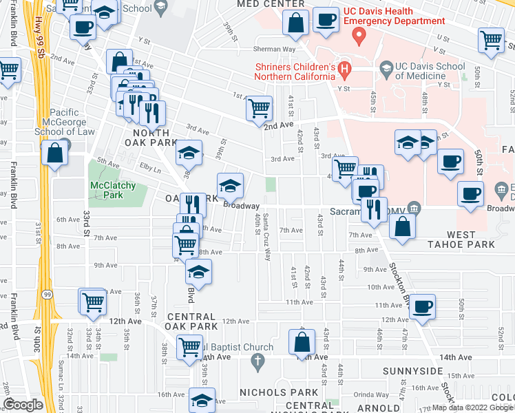 map of restaurants, bars, coffee shops, grocery stores, and more near Broadway & 40th Street in Sacramento