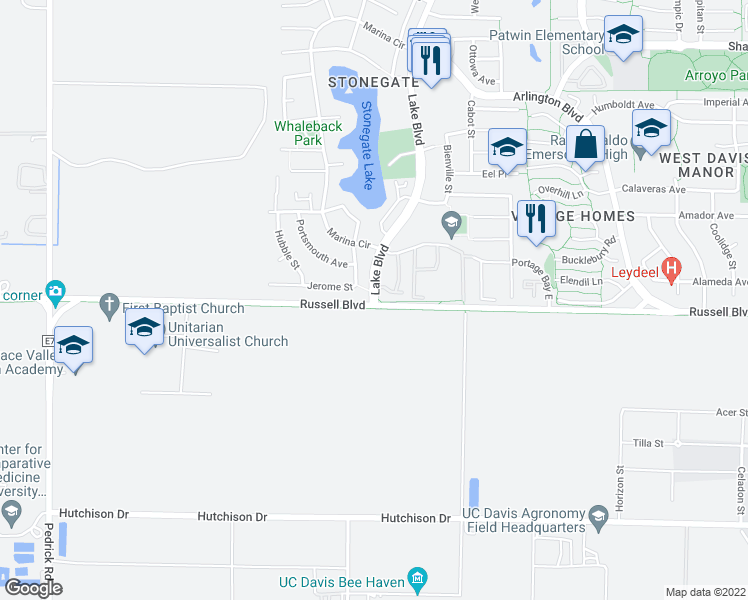map of restaurants, bars, coffee shops, grocery stores, and more near 501-523 Lake Boulevard in Davis