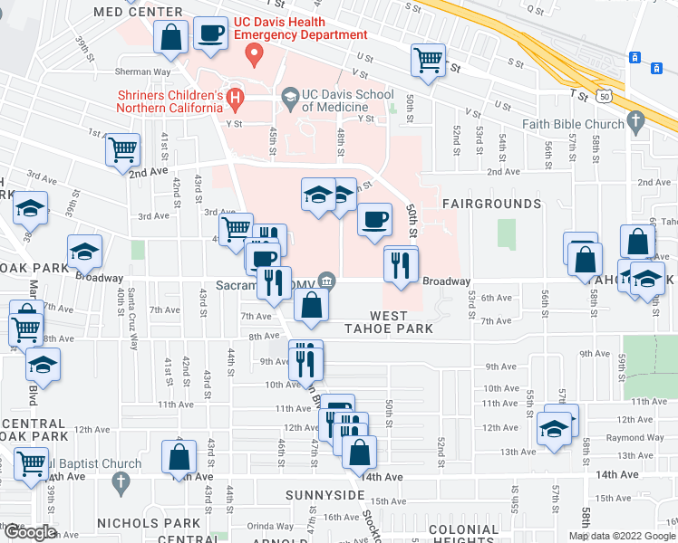 map of restaurants, bars, coffee shops, grocery stores, and more near 2950-2998 49th Street in Sacramento