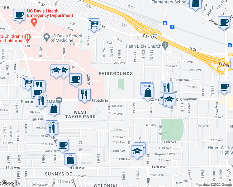 map of restaurants, bars, coffee shops, grocery stores, and more near 5407 Broadway in Sacramento