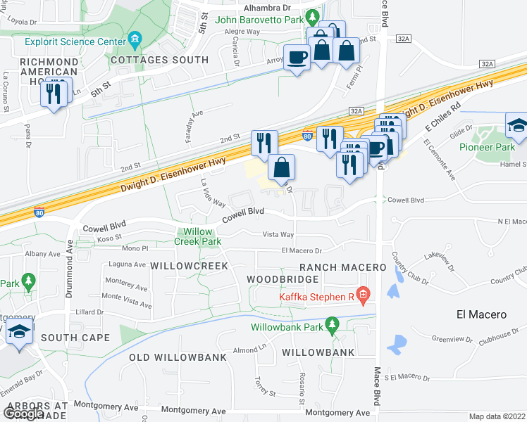 map of restaurants, bars, coffee shops, grocery stores, and more near 4141 Cowell Boulevard in Davis