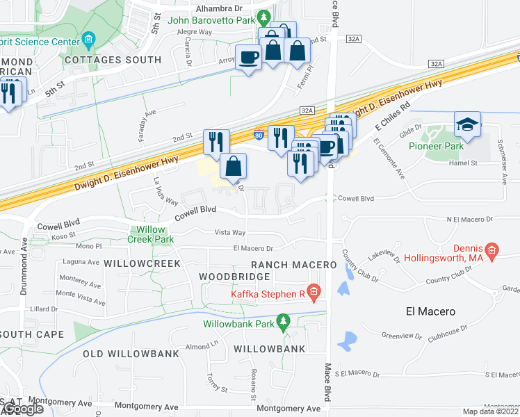 map of restaurants, bars, coffee shops, grocery stores, and more near 4332-4334 Cowell Boulevard in Davis