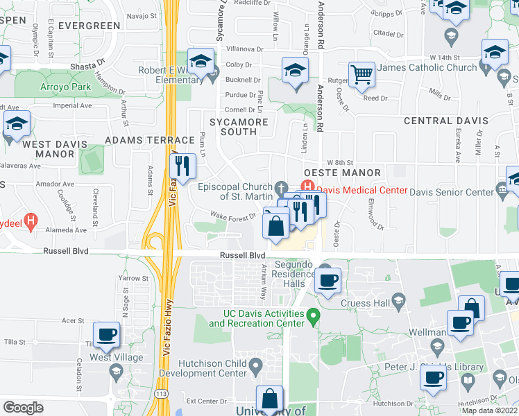 map of restaurants, bars, coffee shops, grocery stores, and more near 701-707 Sycamore Lane in Davis