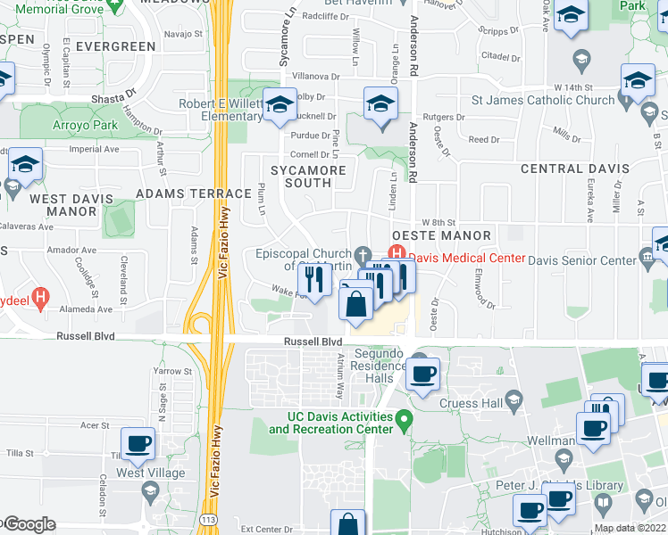 map of restaurants, bars, coffee shops, grocery stores, and more near 716 Sycamore Lane in Davis
