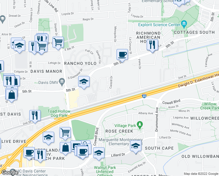 map of restaurants, bars, coffee shops, grocery stores, and more near 2537 2nd Street in Davis