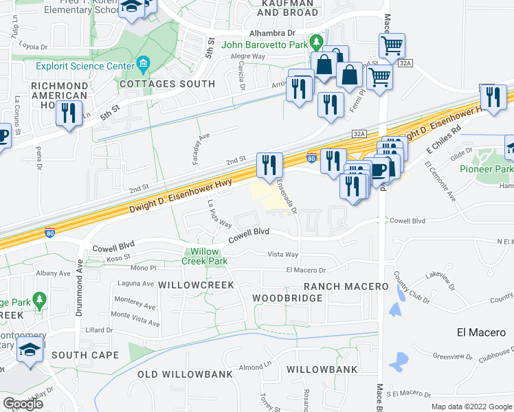 map of restaurants, bars, coffee shops, grocery stores, and more near 4005 Cowell Boulevard in Davis