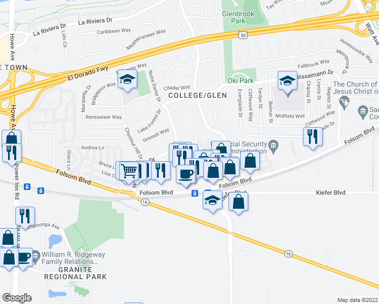 map of restaurants, bars, coffee shops, grocery stores, and more near 3012 Julliard Drive in Sacramento
