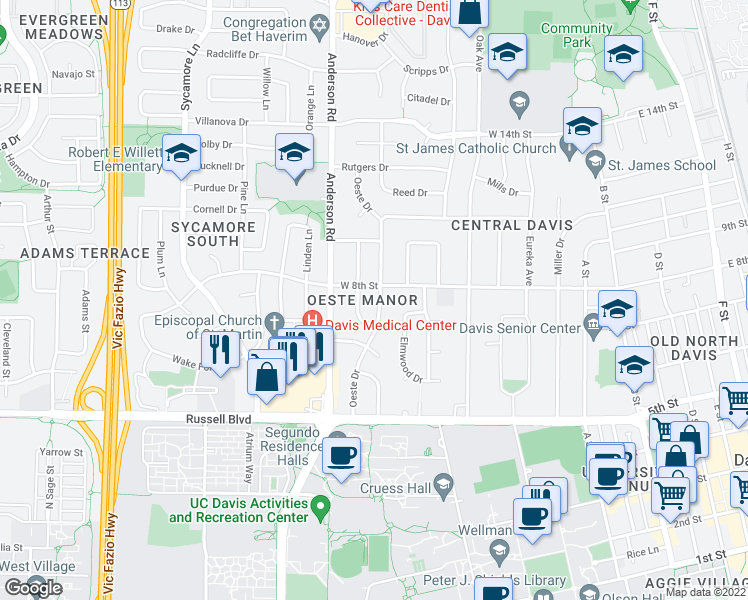 map of restaurants, bars, coffee shops, grocery stores, and more near 761 Oeste Drive in Davis