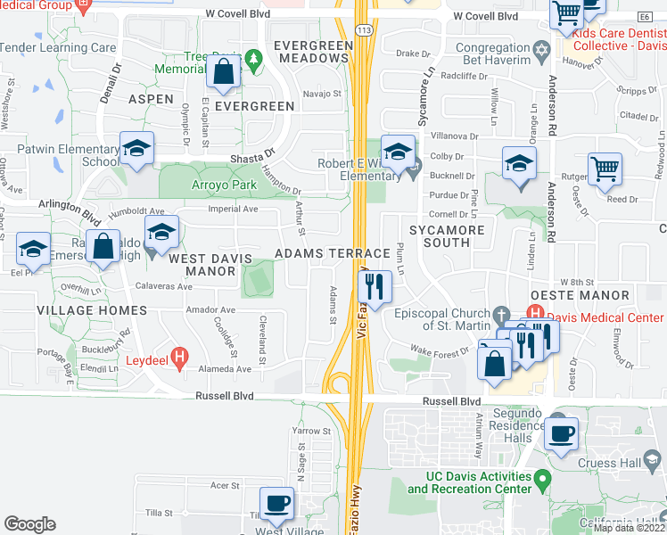 map of restaurants, bars, coffee shops, grocery stores, and more near 800 Adams Terrace in Davis