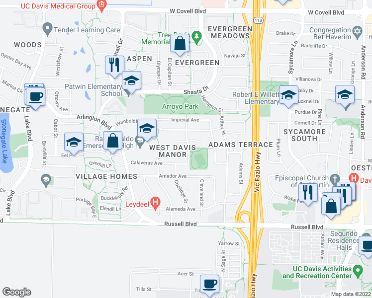 map of restaurants, bars, coffee shops, grocery stores, and more near 1001 Barkley Street in Davis
