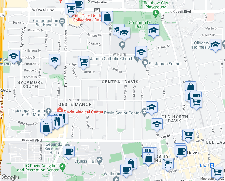 map of restaurants, bars, coffee shops, grocery stores, and more near 837 Douglass Avenue in Davis