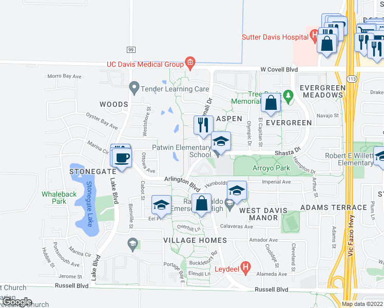 map of restaurants, bars, coffee shops, grocery stores, and more near 2302 Muir Woods Place in Davis