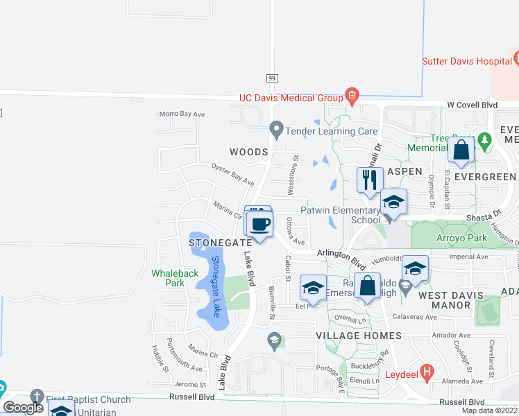 map of restaurants, bars, coffee shops, grocery stores, and more near 1420 Lake Boulevard in Davis