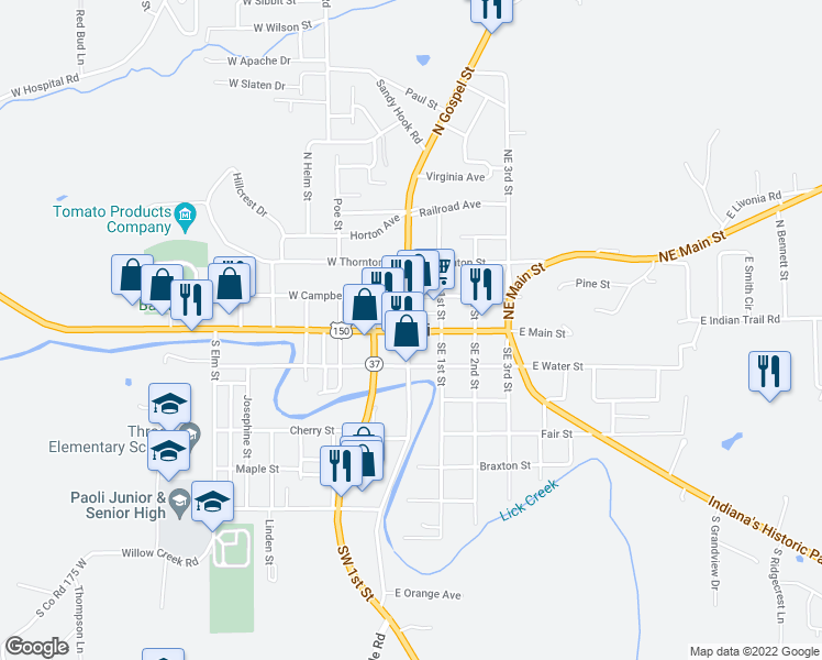 map of restaurants, bars, coffee shops, grocery stores, and more near 264 Northwest Court Street in Paoli