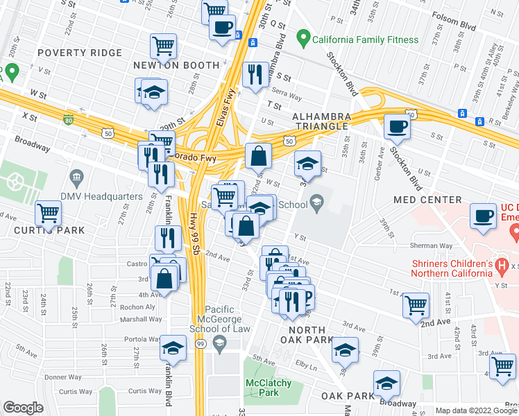 map of restaurants, bars, coffee shops, grocery stores, and more near 3201-3299 X Street Y Street Alley in Sacramento