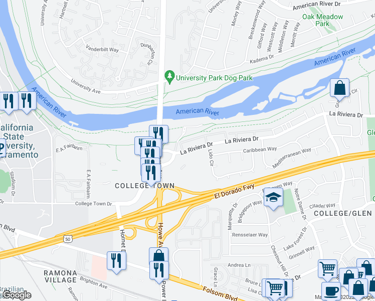 map of restaurants, bars, coffee shops, grocery stores, and more near 7944 La Riviera Dr in Sacramento