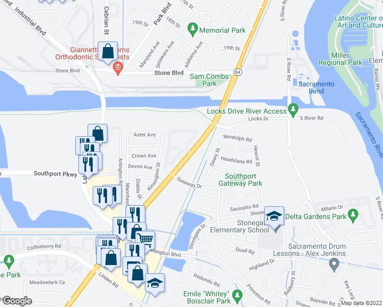 map of restaurants, bars, coffee shops, grocery stores, and more near Jefferson Boulevard & Valley Oak Lane in West Sacramento