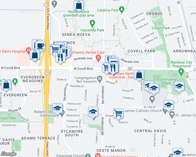 map of restaurants, bars, coffee shops, grocery stores, and more near 1805 Anderson Road in Davis