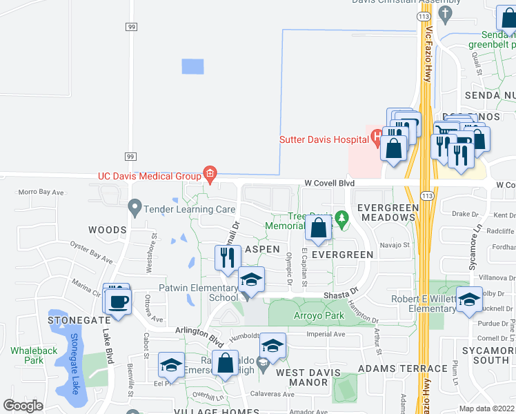 map of restaurants, bars, coffee shops, grocery stores, and more near 2201 Isle Royale Lane in Davis