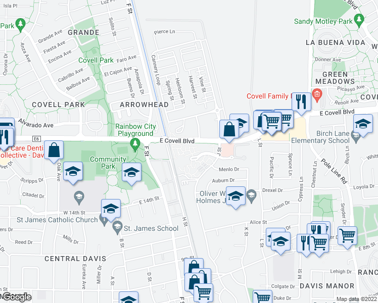 map of restaurants, bars, coffee shops, grocery stores, and more near 939-1023 East Covell Boulevard in Davis