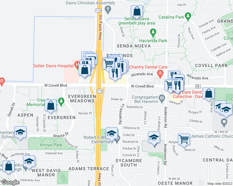 map of restaurants, bars, coffee shops, grocery stores, and more near 1352 Drake Dr in Davis