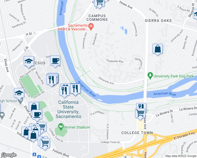 map of restaurants, bars, coffee shops, grocery stores, and more near 1025 University Avenue in Sacramento