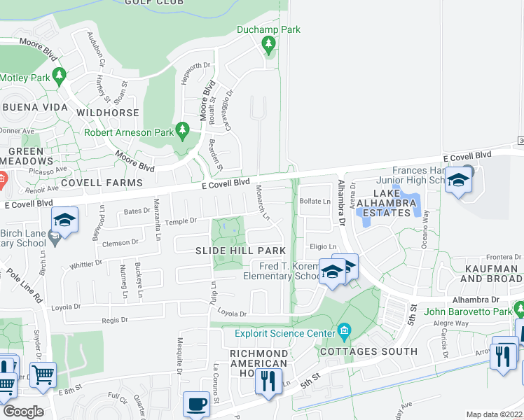 map of restaurants, bars, coffee shops, grocery stores, and more near Temple Dr & Monarch Ln in Davis