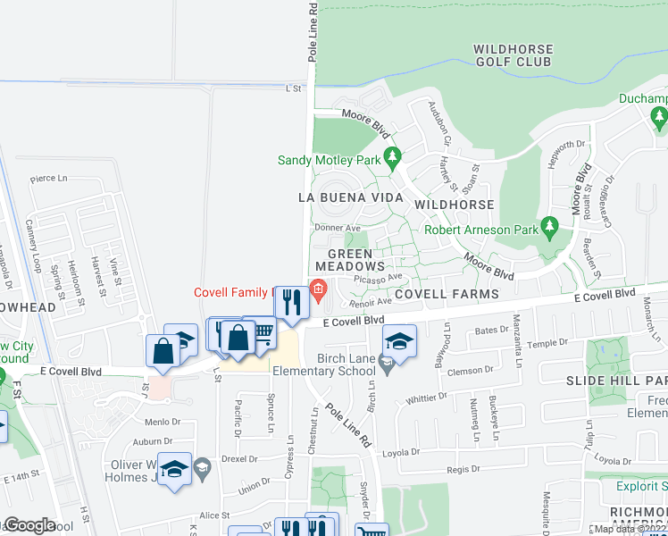 map of restaurants, bars, coffee shops, grocery stores, and more near 2400 Pole Line Road in Davis