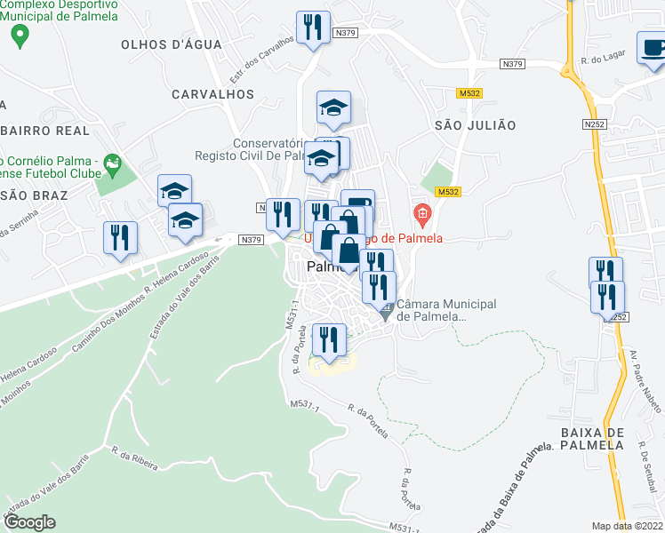 map of restaurants, bars, coffee shops, grocery stores, and more near in Palmela