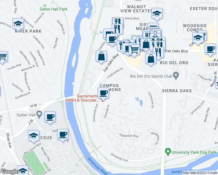 map of restaurants, bars, coffee shops, grocery stores, and more near University Ave & Campus Commons Rd in Sacramento