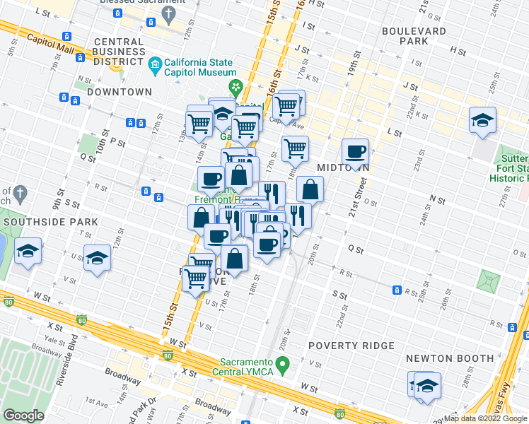 map of restaurants, bars, coffee shops, grocery stores, and more near 1711 Q Street in Sacramento