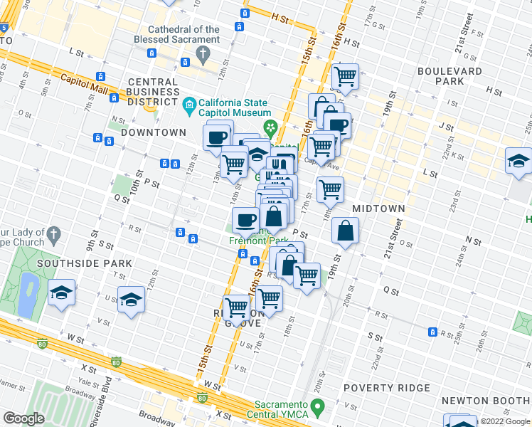 map of restaurants, bars, coffee shops, grocery stores, and more near 1501 P St in Sacramento
