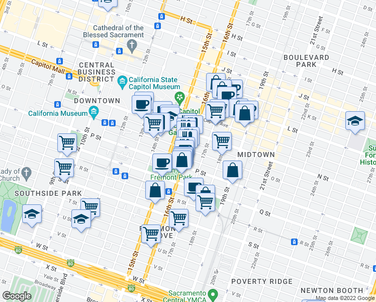 map of restaurants, bars, coffee shops, grocery stores, and more near 1520 O Street in Sacramento