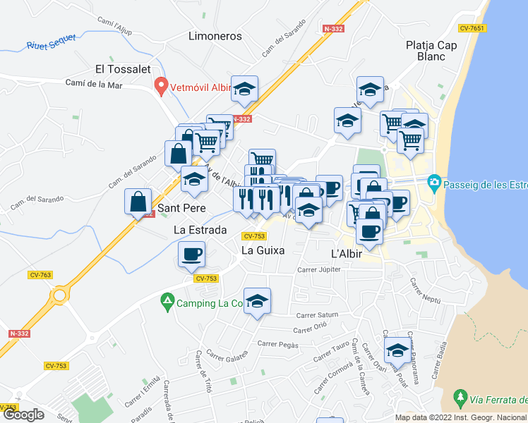 map of restaurants, bars, coffee shops, grocery stores, and more near 4 Avenida de l'Albir in El Albir