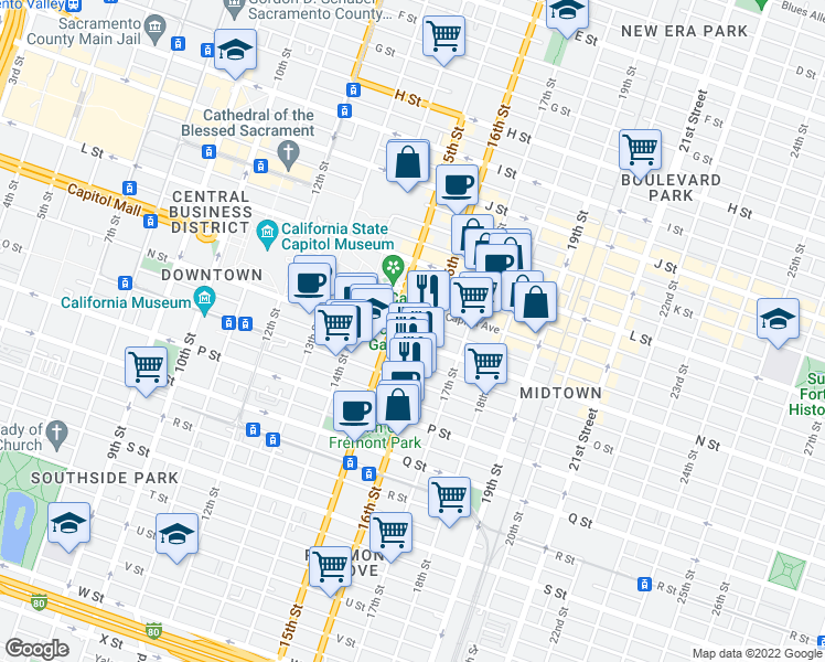 map of restaurants, bars, coffee shops, grocery stores, and more near 1531 N Street in Sacramento