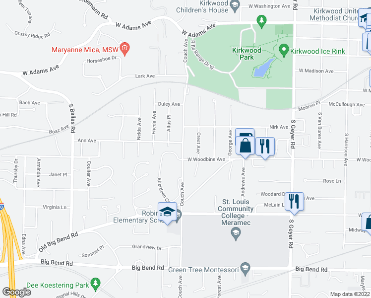 map of restaurants, bars, coffee shops, grocery stores, and more near 440 Couch Avenue in Kirkwood