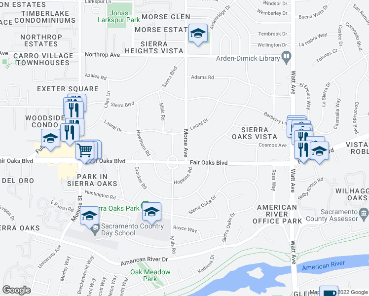 map of restaurants, bars, coffee shops, grocery stores, and more near 543 Morse Avenue in Sacramento