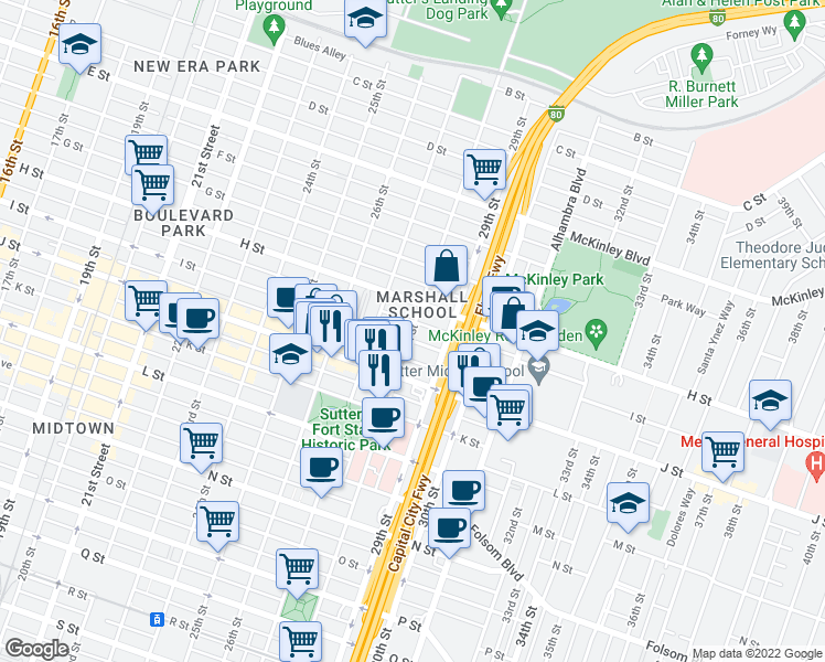 map of restaurants, bars, coffee shops, grocery stores, and more near 28th Street in Sacramento