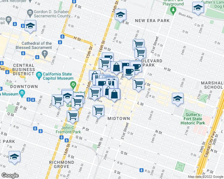 map of restaurants, bars, coffee shops, grocery stores, and more near 1801L 18th Street in Sacramento